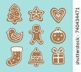 vector set of christmas cookies ... | Shutterstock .eps vector #740434471
