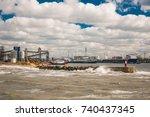 kerch ferry crossing. port of... | Shutterstock . vector #740437345