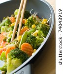 mixed  vegetables with fresh sprout in pan Selective focus - stock photo