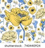 colorful pattern with flowering ... | Shutterstock .eps vector #740440924