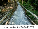 concrete pathway with branch... | Shutterstock . vector #740441377