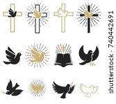set of religious signs. cross... | Shutterstock .eps vector #740442691