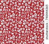 christmas seamless pattern of... | Shutterstock .eps vector #740444365