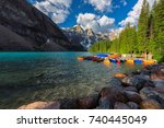 sunrise at moraine lake with... | Shutterstock . vector #740445049