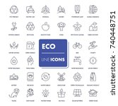 line icons set. eco pack.... | Shutterstock .eps vector #740448751