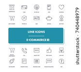 line icons set. e commerce 2... | Shutterstock .eps vector #740448979