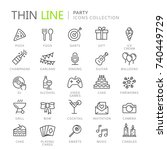collection of party thin line... | Shutterstock .eps vector #740449729