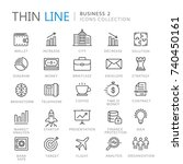 collection of business thin... | Shutterstock .eps vector #740450161