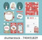 set of christmas planner and... | Shutterstock .eps vector #740451829