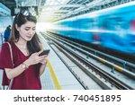asian woman passenger with... | Shutterstock . vector #740451895