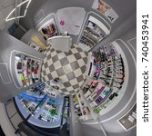 Small photo of Minsk, BELARUS. 12 May 2016: Full 360 degree equirectangula panorama cosmetics store little planet