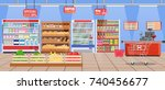 supermarket store interior with ... | Shutterstock . vector #740456677
