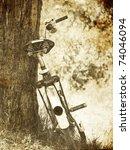 bike near tree. photo in old... | Shutterstock . vector #74046094