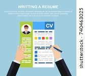 writing resume. cv application... | Shutterstock .eps vector #740463025