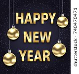happy new year 2018 with golden ... | Shutterstock .eps vector #740470471