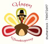 happy thanksgiving day... | Shutterstock .eps vector #740472697