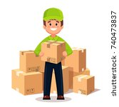 delivery man  guy with... | Shutterstock .eps vector #740473837