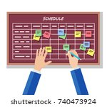 calendar schedule board with... | Shutterstock .eps vector #740473924