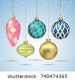 christmas balls ornaments... | Shutterstock .eps vector #740474365