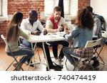 group of five creative worker...   Shutterstock . vector #740474419
