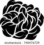 flower rose  black and white.... | Shutterstock .eps vector #740476729