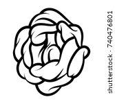 flower rose  black and white.... | Shutterstock .eps vector #740476801