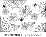 a set of spider webs with... | Shutterstock .eps vector #740477374