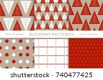 set of winter holiday seamless... | Shutterstock .eps vector #740477425