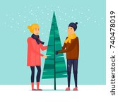couple decorates a christmas...   Shutterstock .eps vector #740478019