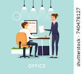 business characters. co working ... | Shutterstock .eps vector #740478127