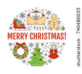 merry christmas new year banner ... | Shutterstock .eps vector #740480035