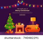 christmas fireplace room  in... | Shutterstock .eps vector #740482291