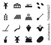 16 vector icon set   windmill ... | Shutterstock .eps vector #740486527