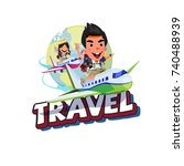 boy and girl traveler sitting... | Shutterstock .eps vector #740488939