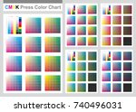 cmyk press color chart. vector... | Shutterstock .eps vector #740496031