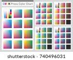 cmyk press color chart. vector... | Shutterstock .eps vector #740496031