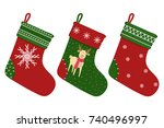 christmas sock. a set of socks... | Shutterstock .eps vector #740496997