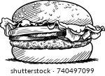 engraving burger vector   Shutterstock .eps vector #740497099