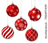 red christmas balls with... | Shutterstock .eps vector #740497459