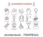 alzheimer's disease and... | Shutterstock . vector #740498161