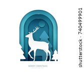 deer on winter forest in paper... | Shutterstock .eps vector #740499901