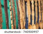 traditional carved wooden... | Shutterstock . vector #740500957