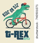 dinosaur on bicycle.... | Shutterstock .eps vector #740501071