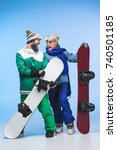 excited couple of snowboarders... | Shutterstock . vector #740501185