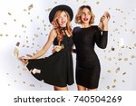 new year or birthday party  two ... | Shutterstock . vector #740504269