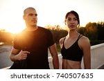 young athletic friends heading... | Shutterstock . vector #740507635