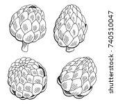 artichoke plant graphic black...   Shutterstock .eps vector #740510047