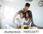 happy african american family... | Shutterstock . vector #740513377