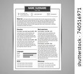 resume and cv template. flat...   Shutterstock .eps vector #740516971