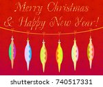 decorative colored christmas... | Shutterstock .eps vector #740517331